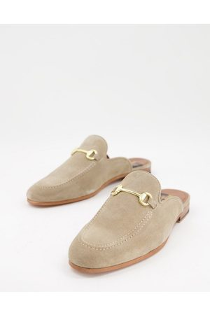WALK LONDON Terry bar backless mule loafers in suede-Neutral