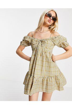 Urban Revivo Off the shoulder mini dress in check print
