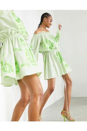 ASOS Women Printed Dresses - Off shoulder floral embroidered mini dress with tie waist in apple