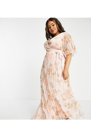 ASOS Curve exclusive maxi dress with kimono sleeve and tie waist in pleat in occasion floral-Multi