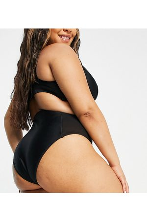 Wolf & Whistle Exclusive high waist bikini bottom with mesh inserts in