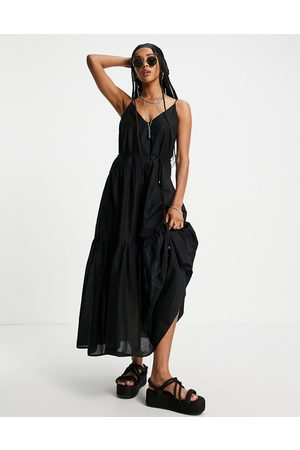 ONLY Cami maxi dress with tiering and tie waist in