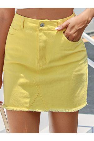 Yoins Side Pocket High Waist Denim Skirt