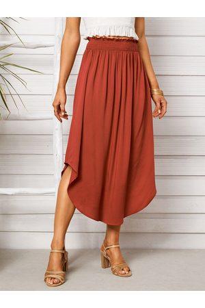 Yoins Shirring Lettuce-Edge Curved Hem Midi Skirt