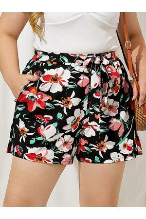 YOINS Plus Size Floral Print Belt Design Side Pocket Tie-up Design Shorts