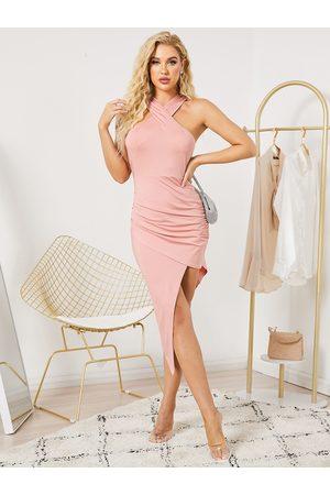 YOINS Halter Crossed Front Design Asymmetrical Hem Midi Dress