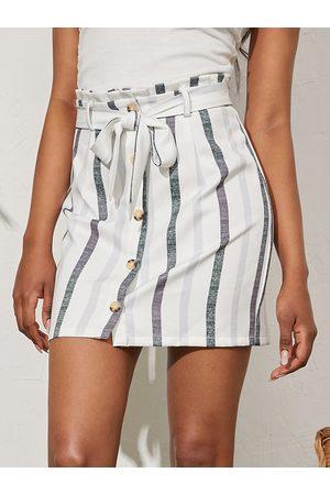 YOINS Striped Belt Design Front Button Mini Skirt