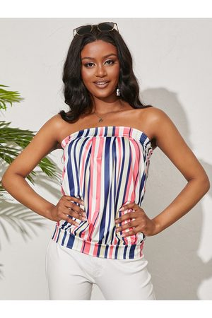YOINS Coloful Striped Backless Design Strapless Tube Top