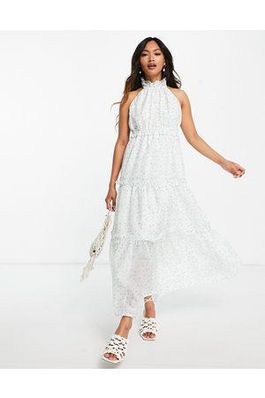 Lost Ink Women Halterneck Dresses - Midaxi halterneck dress with tiered skirt in ditsy floral