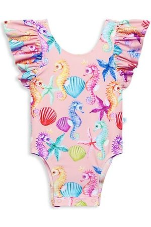 Posh Peanut Baby Girl's Coral Ruffled One-Piece Swimsuit