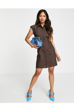 ASOS DESIGN Women Casual Dresses - Sleeveless shoulder pad mini shirt dress in chocolate