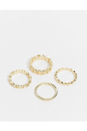 Pieces Women Rings - 4 pack chain rings in