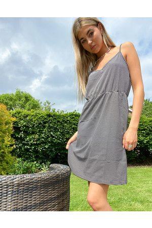 Noisy May Cami mini dress in black & white stripe-Multi