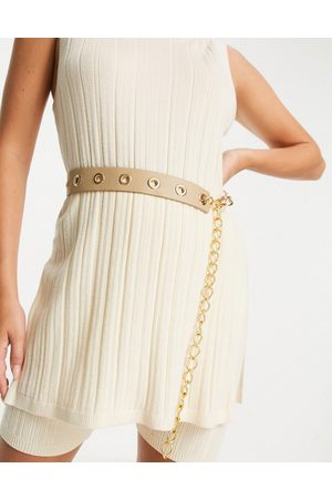 ASOS DESIGN Waist belt with eyelet and chain detail in -Neutral