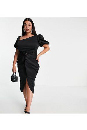 ASOS ASOS DESIGN Curve asymmetric puff sleeve knot tuck midi dress in black-Multi