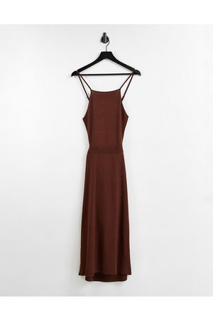& Other Stories Women Casual Dresses - Knitted cut out sides midi dress in dark -Copper