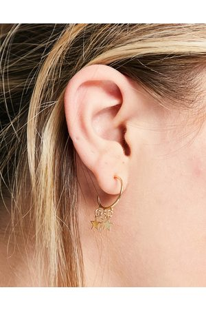 Pieces Hoops with star charms in