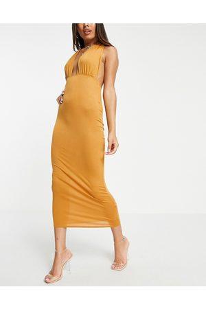 ASOS Halter cross front maxi dress in camel-Neutral