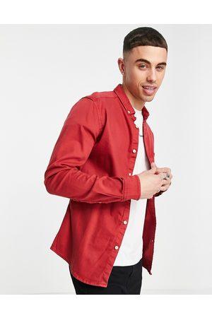 ASOS DESIGN Slim denim shirt in red