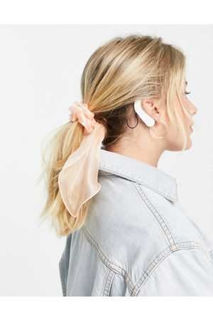 Pieces Oversized bow organza hair scrunchie in