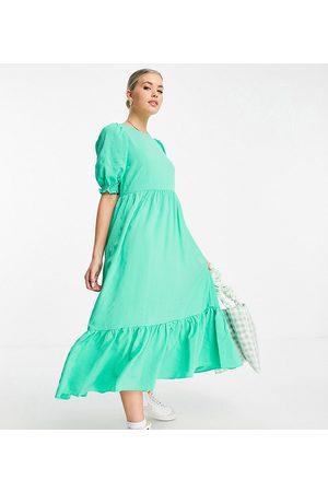New Look Tall Women Midi Dresses - Textured tiered midi dress in light