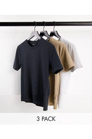 ASOS DESIGN Men Short Sleeve - 3 pack Organic blend muscle fit t-shirt with crew neck-Multi