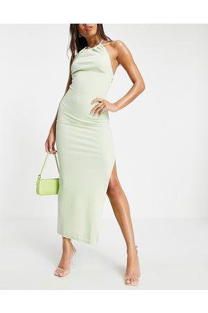 ASOS Women Halterneck Dresses - Ruched glitter halter open back maxi dress in lime