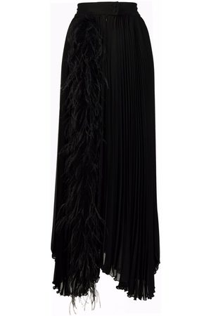 Styland Women Maxi Skirts - Feather-trim pleated maxi skirt