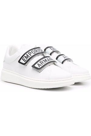 Emporio Armani TEEN logo touch-strap sneakers