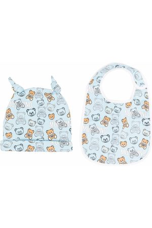 Moschino Baby Hats - Teddy bear-motif two-piece set