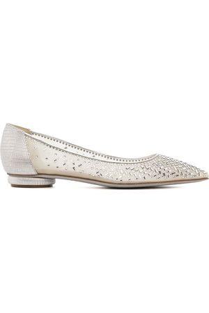 René Caovilla Beaded point-toe leather shoes