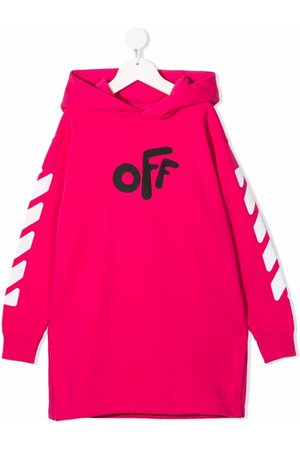 Off-White Kids OFF ROUNDED HOODIE DRESS FUCHSIA BLACK
