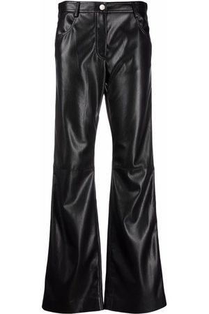 MSGM Flared faux-leather trousers