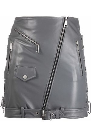 Manokhi Biker-style leather fitted skirt