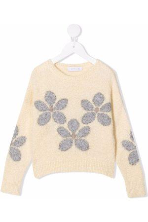 MONNALISA Intarsia-floral knit jumper