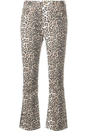 R13 Leopard print flared cropped jeans
