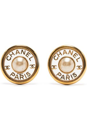 CHANEL CC pearl-embellished clip-on earrings