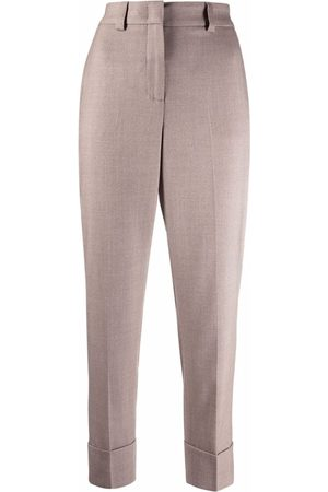 PESERICO SIGN High-waisted cropped virgin wool trousers