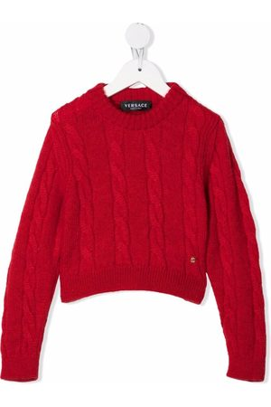 VERSACE Cable-knit rib-trimmed jumper