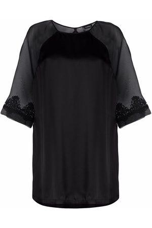 La Perla Lace-trim silk pajama top