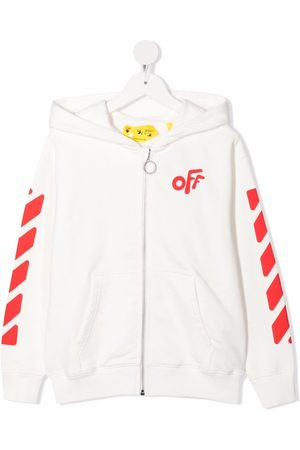 Off-White Kids OFF ROUNDED HOODIE ZIP RED