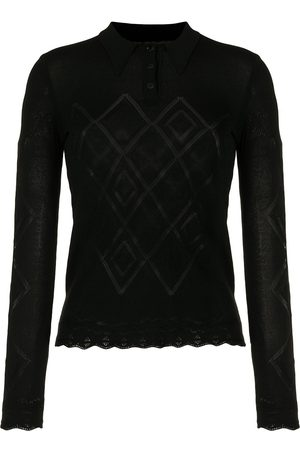 CHANEL 2004 argyle pattern knitted polo top