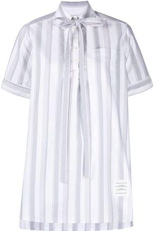 Thom Browne Vertical-stripe short-sleeve shirt