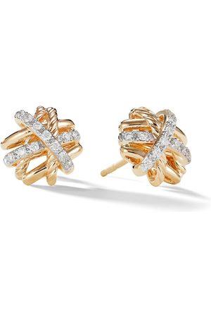 David Yurman 18kt yellow Crossover diamond studs