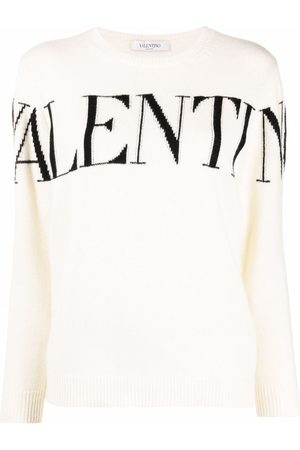 VALENTINO Intarsia-knit logo long-sleeve jumper
