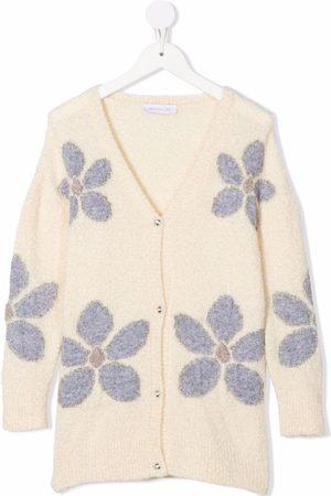 MONNALISA Floral intarsia rib-trimmed cardigan
