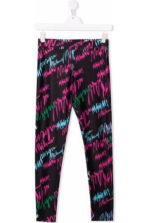 Msgm Girls Leggings - All-over logo leggings