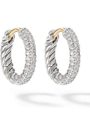 David Yurman Sterling pavé diamond huggie earrings