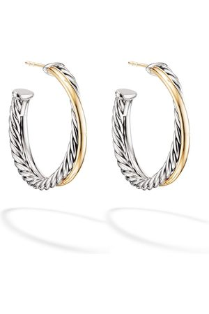 David Yurman 18kt yellow and sterling silver Medium Crossover hoop earrings