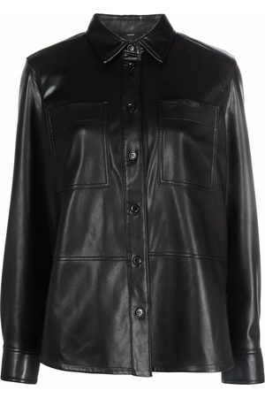 Calvin Klein Button-up faux leather overshirt